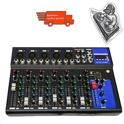 Mixer Audio 7Canali Dj Karaoke Serate Piano Bar Professionale Usb Con Echo-Delay 2