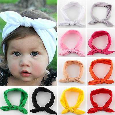 Newborn Kids Girls Headband Ribbon Elastic Baby Headdress Hair Band Bow Knot 6