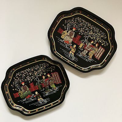 ELITE METAL TRAYS Asian Scene Made in England 7x6 Set of 2 Black Gold Red Tip 2