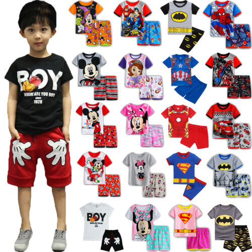 Kids Boys Girls Summer Outfits Clothes Tops T-shirt + Shorts Pants Casual Beach 5