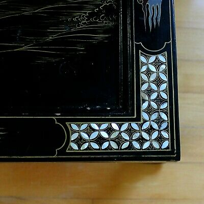 Old Tianjin Chinese Carved Inlaid Coromandel Lacquer Folding Table 6