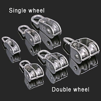 Seilrolle Einzel- Doppelrad Drahtseil Umlenkrolle Blockseilrolle Flaschenzug