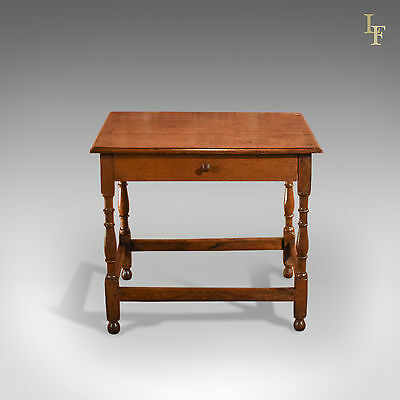 Antique Occasional Table, Victorian, Oak, English, Country, Hall, Side, c.1850 2