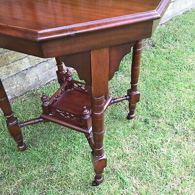 Antique Hall Side Table Victorian Occasional Old Turned Mahogany Stretcher 9