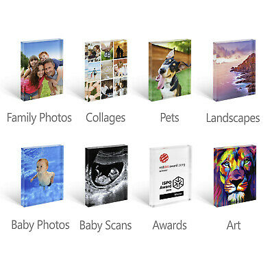 Personalised Acrylic Photo Block Frame. Collages, Awards, Art, Baby Scan Gift 2