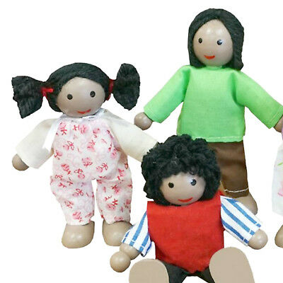 NEW Fun Factory Wooden Doll House Family of 5 Black Ethnic Posable Dolls 2