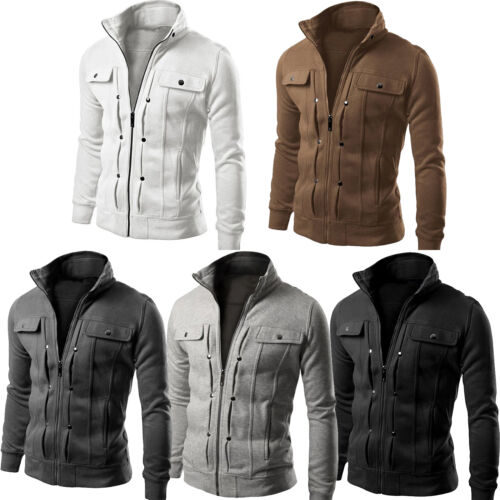 Men Stand Collar Slim Fit Winter Zip Coat Top Military Jacket Sweatshirt Outwear 6