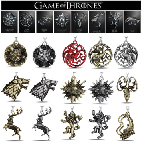 Game of Thrones House Stark Head Targaryen Baratheon 3D Metal Keyring Keychain 2