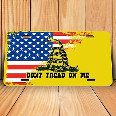 Truck Trailer Don/'t Tread on Me Distressed American Flag Metal Front License Plate RV 6x12 inch Vintage Gadsden USA Auto Tag for Car