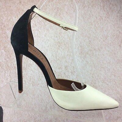 fd6b7ca9803 SCHUTZ BLACK & White Leather Stiletto High Heel Ankle Strap Pointed Toe  Pumps 8M