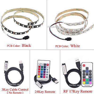 5V 5050 60SMD/M RGB LED Strip Light Bar TV Back Lighting Kit+USB Remote Control 2