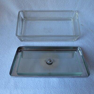 ERKA Assistent Instrumentenschale Glasschale Edelstahl-Deckel Kubus 21x11x5cm