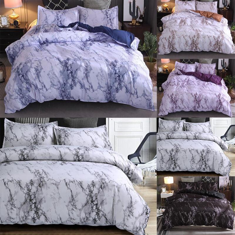 Grey Marble Effect Duvet Cover Quilt Bedding Set Single Double King Queen Size L