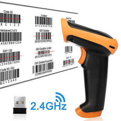 2 IN 1 USB Wired & 2.4GHz Wireless Barcode Scanner Reader for Store Warehouse 1D 4