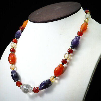 Assortment Ancient Beads Collared Bicone Carnelian Amethyst Crystal Necklace 6