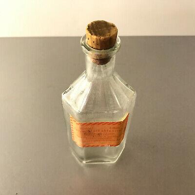 (m103) Glasflasche Glas 100ml 14cm Korken Apotheke Chemie Tetrachlorkohlenstoff 2