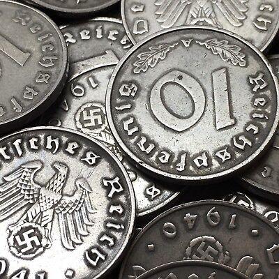 Rare WW2 Nazi Germany 3rd Reich 10 Reichspfennig Swastika Coin Buy 3 Get 1 Free 3