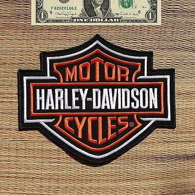 Harley Davidson Classic Orange Logo Sew-on Patch (XL) 3