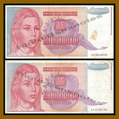 F-XF Yugoslavia BUNDLE LOT 100 notes Billion Dinara P-126 1993 HYPERINFLATION