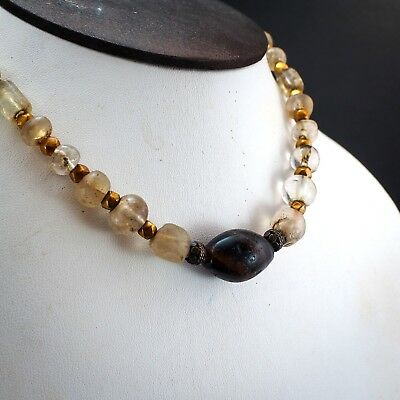 Original Ancient Roman Crystal Bead 22k Solid Gold Ancient agate Bead 1800yrs 2