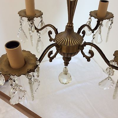 Antique Style Brass and Crystal Chandelier 2