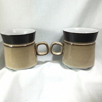 "Pair of Denby Country Cuisine Mugs Coffee Cup Brown  Tan 3 3/4"" Mid Century Look 3"