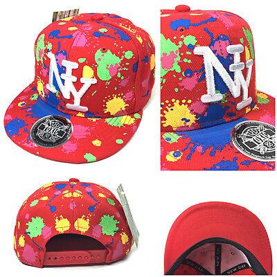 NEU NY NEON SPLASH rot Snapback Cap Kinder Basecap Kappe Baseball Mütze NY TOXIC