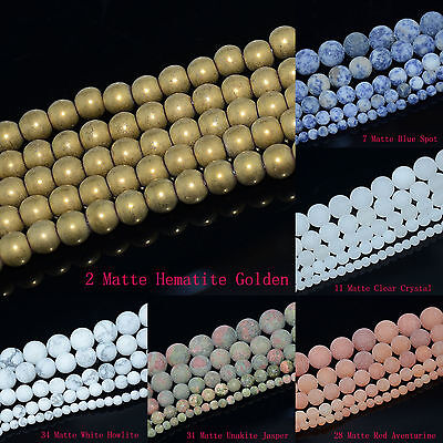 """4mm 6mm 8mm 10mm Natural Frosted Matte Gemstones Round Loose Beads Jewelry 15"""" 2"""