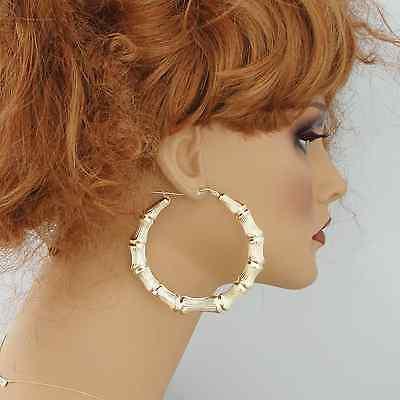 10k Gold Round Door Knocker Bamboo Hoop Earrings 3 Inches 439 95