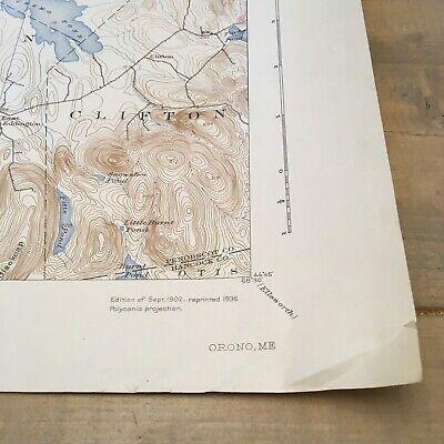 Vintage Original 1936 Maine Penobscot County Orono ME USGS Quadrangle Map 3