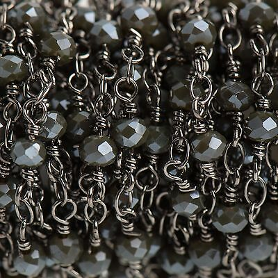 3ft CHARCOAL GREY Crystal Rosary Bead Chain, gunmetal, rondelle, fch0690a 5