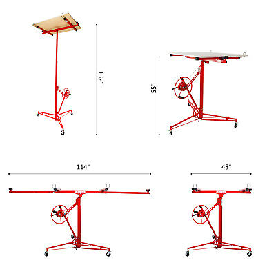 NEW 11' Drywall Lifter Panel Hoist Jack Rolling Caster Construction Lockable Red 4