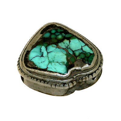 (2564) Antique Tibetan Turquoise Set in Silver and Copper 4