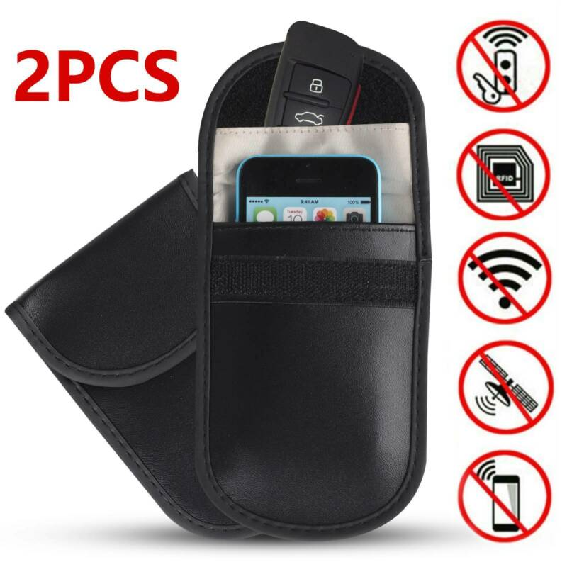 2 x Car Key Signal Blocker Case Faraday Cage Fob Pouch Keyless Blocking Bag 2