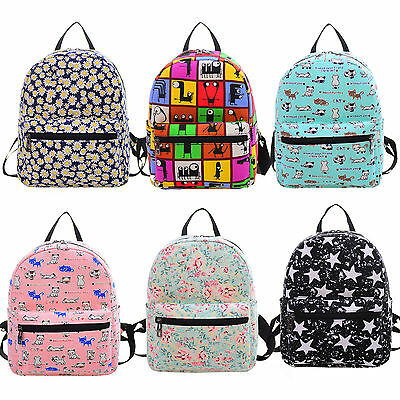 Womens Girls Canvas School Backpack Shoulder Bag Travel Rucksack Satchel Bookbag
