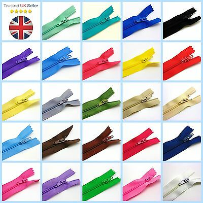 """6"""" 8"""" 10"""" Nylon Zips for Sewing & Crafts Zippers Closed End Auto Lock Colours 3"""