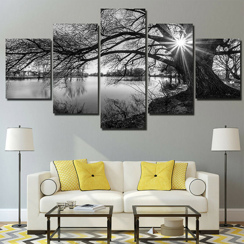 5 Panels Unframed Modern Canvas Art Oil Painting Picture Room Wall Hanging Decor 6