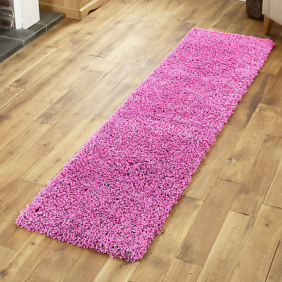 Modern Small Extra Large Pink Colour Thick 5Cm Pile Non-Shed Shaggy Rug Runners 3