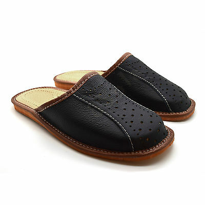 2f8bc98e5421b ... Mens Leather Slippers Mules Black Size 6 7 8 9 10 11 12 Flip Flop  Sandals
