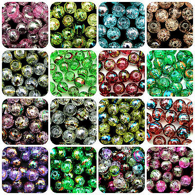 Glass Crackle Drawbench Beads Round Oily Drizzle Sizes - 4mm - 6mm & 8mm ML 2
