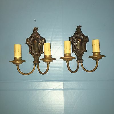 Brass Wired Pair Antique Sconces Vintage Electric Candles 2