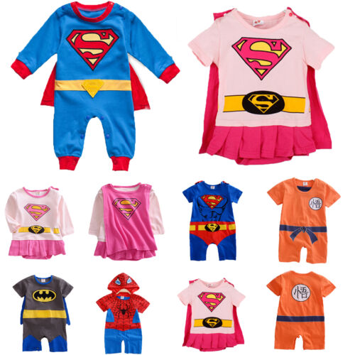 Neonato Bambino Bambina Supereroe Body Bebè Tutina Intera Bimbo Completi Vestiti  3 3 di 11 ... c58fd313252