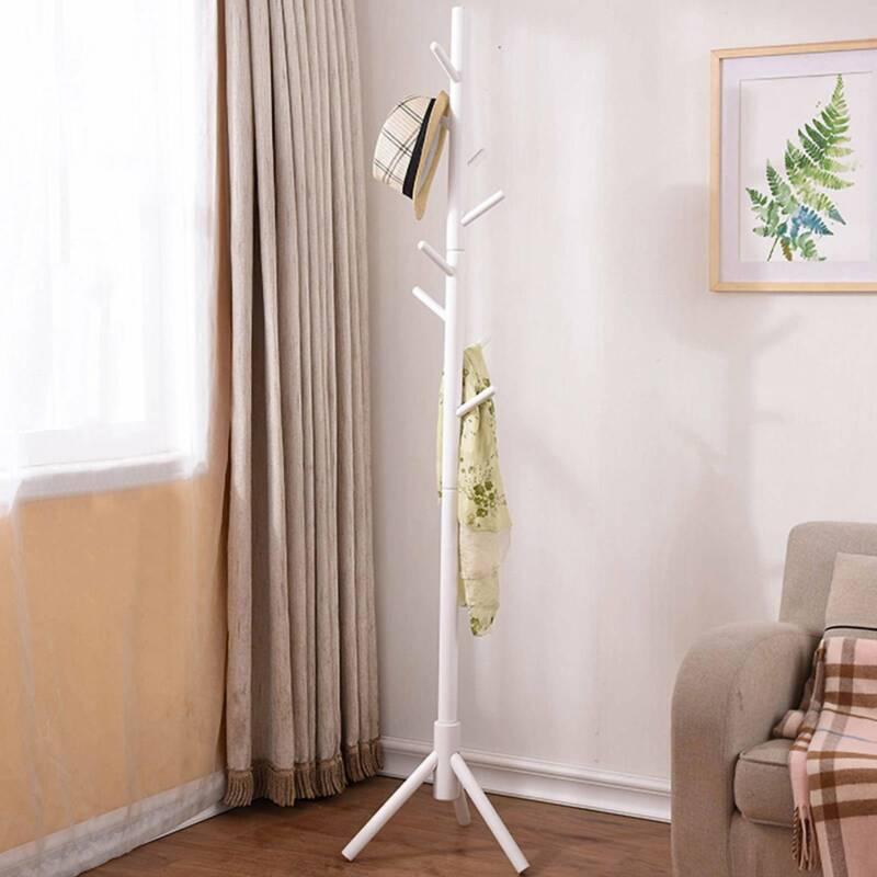 Porte-manteau blanc 176cm - Avec support parapluie - Support manteau/parapluie 2
