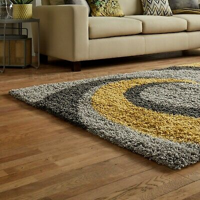 Small - X Large Thick Grey Silver Ochre Mustard Yellow Spiral Modern Shaggy Rug 3