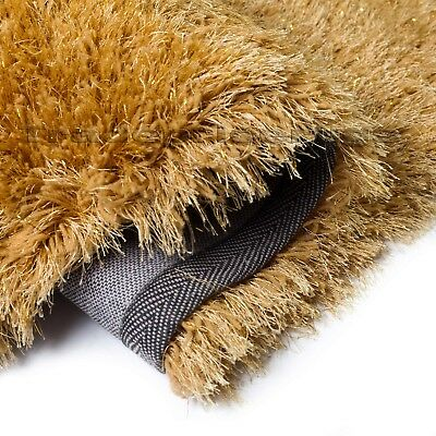 Dazzle Ochre Mustard Yellow Thick Long Pile Glitter Gold Sparkle Shaggy Rug 4