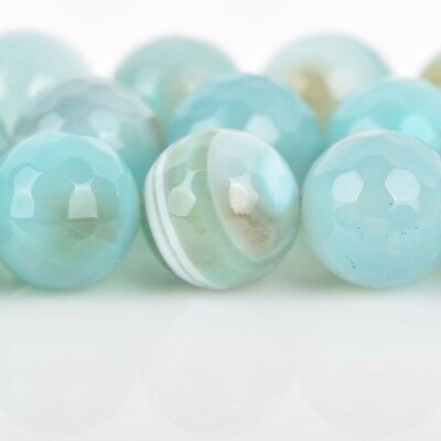 6mm Round Agate Beads, Robin's Egg BLUE Faceted Turquoise Blue AGATE gag0338 3