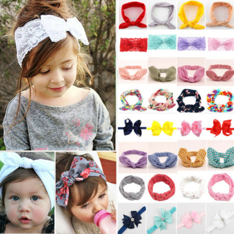 Girls Kid Baby Cotton Bow Hairband Headband Stretch Turban Knots Head Wrap New 2