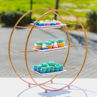 CAKE STAND 3 TIER - Vintage Style Food Platter Pot Plant Stand | White Or Gold