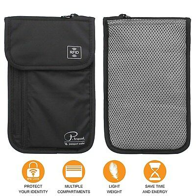 Travel Neck Pouch Passport Holder RFID Blocking Wallet ID Cards Orgainzer Bag 7