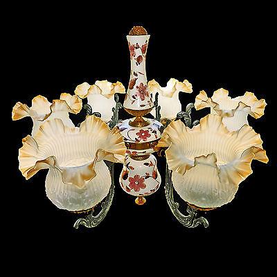 Fabulous Antique 1930 Art Deco/Lalique Art-Glass Style/Porcelain/Gilt Chandelier 2